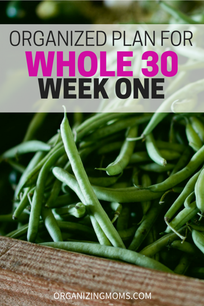 An organized meal plan for the first week of the Whole 30. Simple meals.
