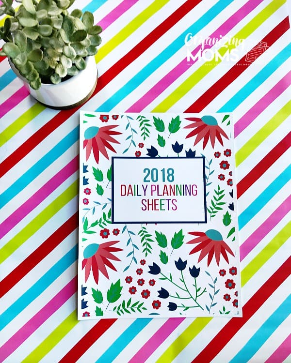 The 2018 Cover for Daily Planning Sheets from Organizing Moms.