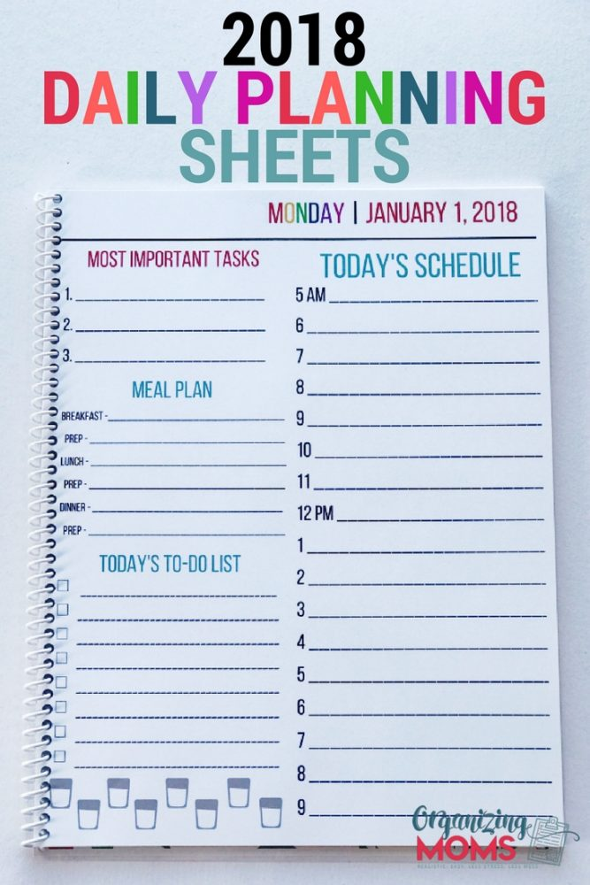 Be the mom with a plan! The 2018 Daily Planning Sheets will help you organize your schedule, to-do list, meal plans, most important tasks and more!