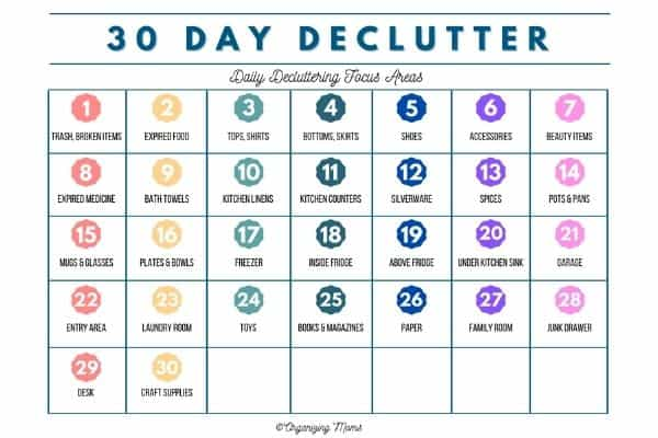 30 Day Declutter calendar with small tasks listed out for each day