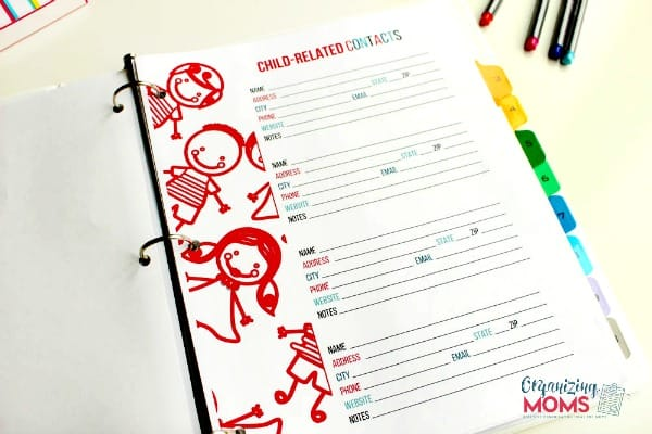 Keep track of all child-related contacts with a Family Organizer.