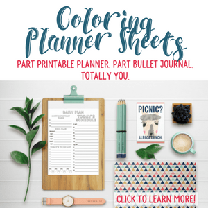 Part printable planner. Part Bullet Journal. Totally You. Coloring Planner Sheets from Organizing Moms.