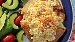 Curried Egg Mayonnaise with Ham & Sweetcorn Jacket Potato