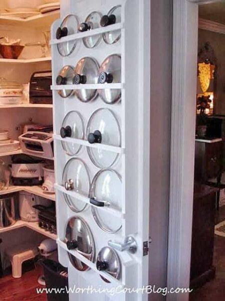 DIY pan lid organization on inside of pantry door