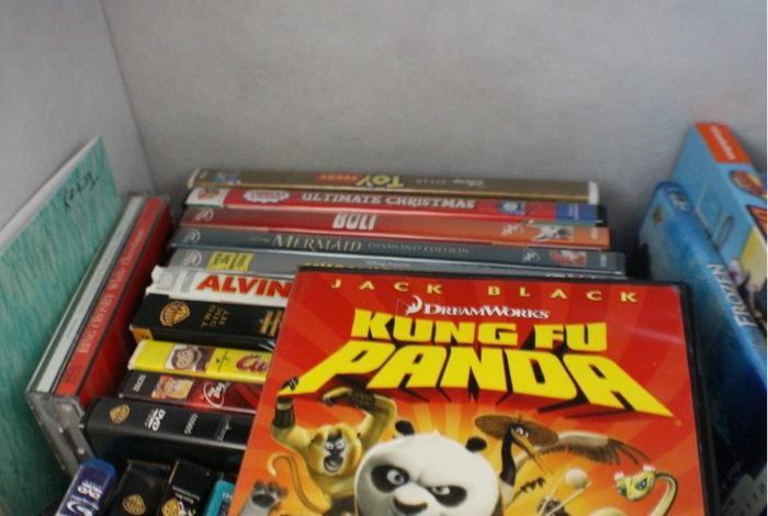 DVDs in storage cube.