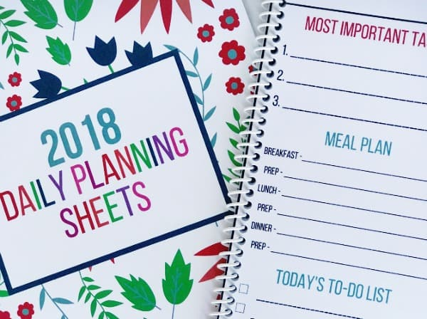 Daily Planning Sheets Cover and Page. Organizing Moms.