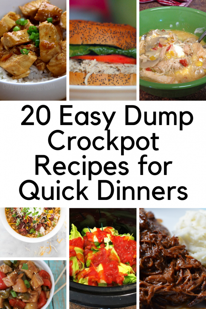 Easy Dump Recipes for your Crockpot. Make these quick dinners using your slow cooker, and meal prep will be a snap. This post has 20 dump crockpot recipes you can use for busy nights when you don't have time to make dinner.
