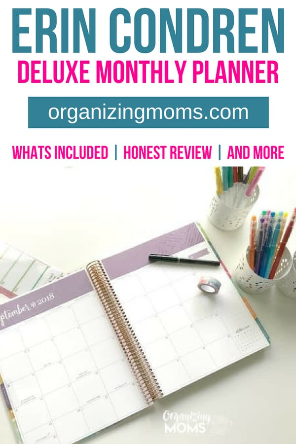 An honest review of the Erin Condren Deluxe Monthly Planner. Find out what's included, and see how I'm using the planner while I'm working at home. #planner #timemanagement #erincondren