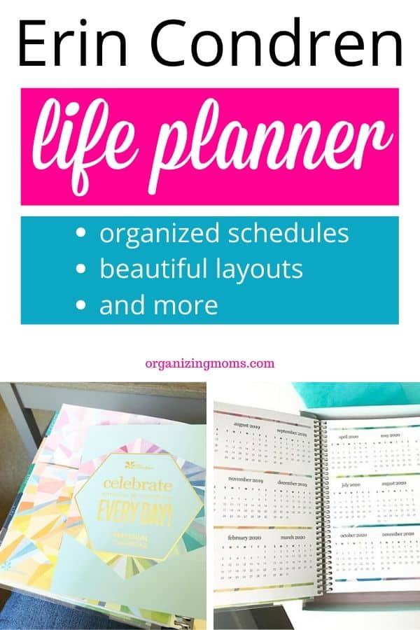 Text - Erin Condren Life Planner organized schedules, beautiful layouts, and more. Close up images of yearly calendar page and perpetual calendar booklet.
