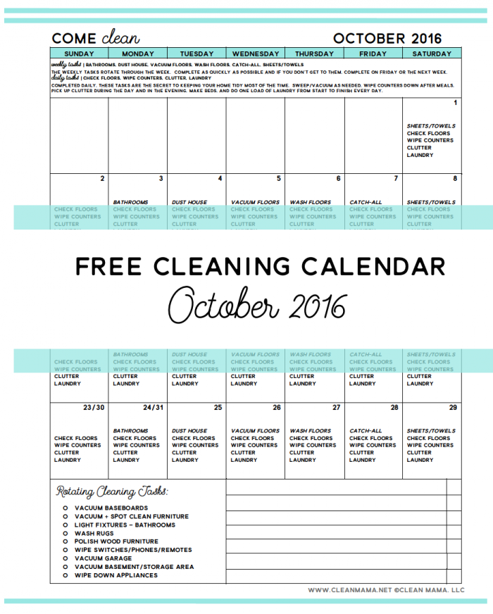 Image from cleanmama.net. Click image or link below to get your own cleaning calendar.