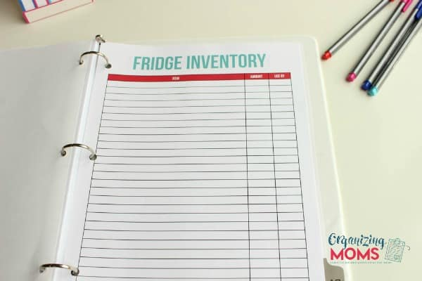 Fridge Inventory Printable from Organizing Moms. Part of the Family Organizer printable set.