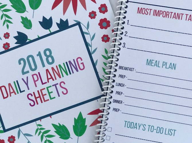 2018 Daily Planning Sheets from Organizing Moms.