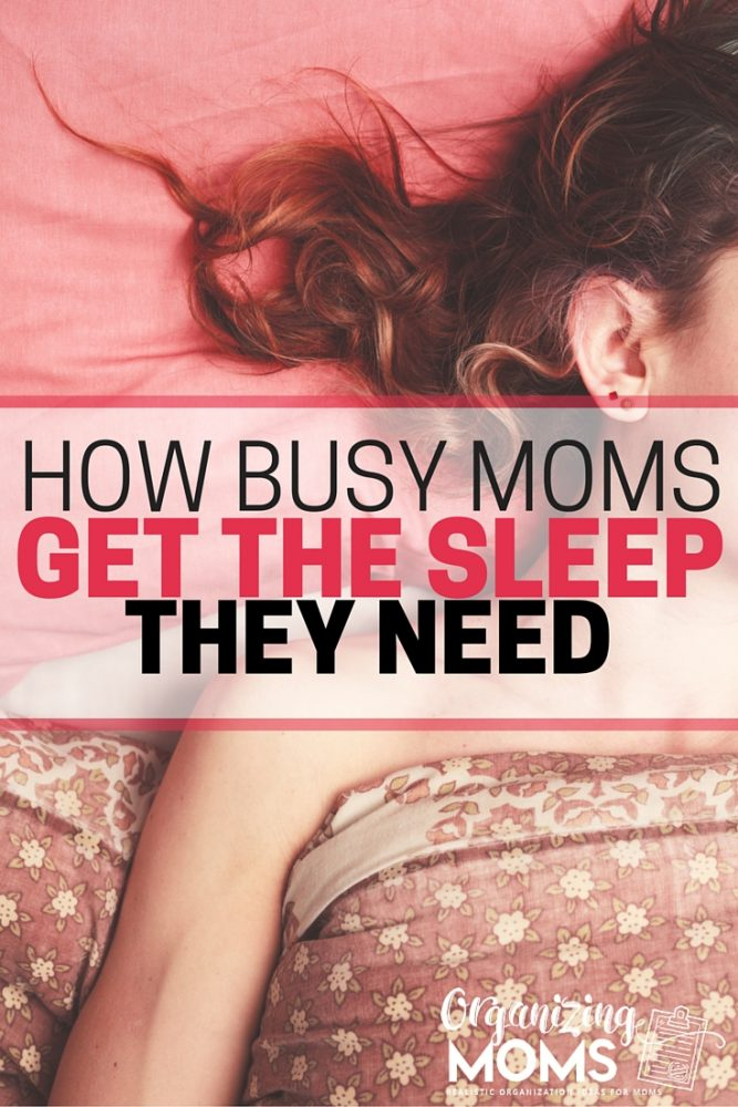 Text - How busy moms get the sleep they need. Image of a woman sleeping in a bed.