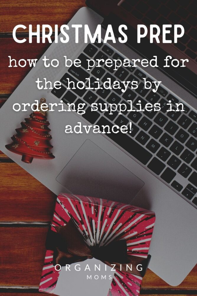 text christmas prep how to be prepared for the holidays by ordering supplies in advance. image of computer with christmas tree ornament and gift on top
