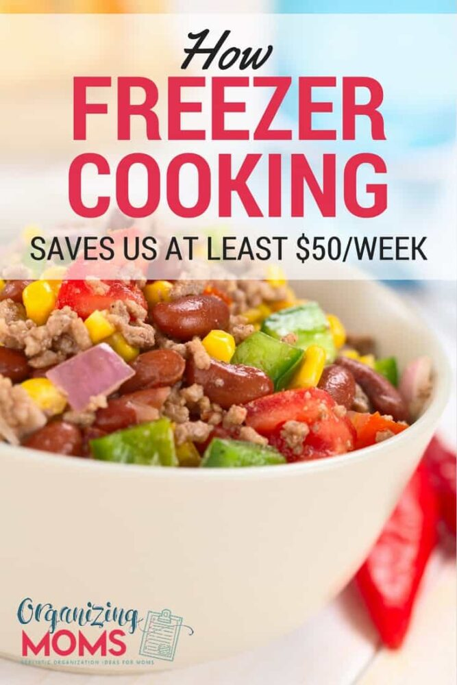 Save time and money in the kitchen with freezer cooking. Our family of four saves at least fifty dollars each week by doing freezer cooking a couple times a month. from Organizing Moms