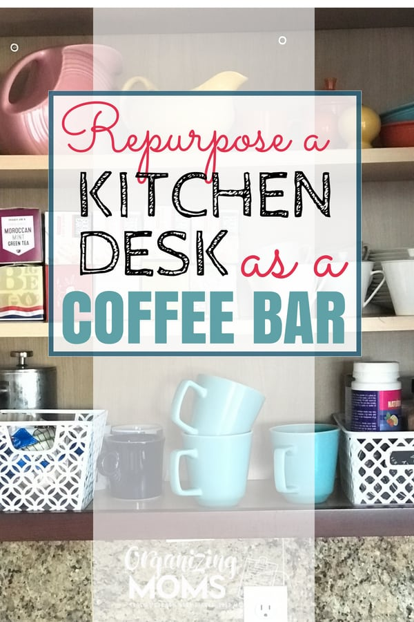 Gain storage and minimize visual clutter when you repurpose your built in kitchen desk as a coffee bar. How to transform your kitchen office space into a coffee and wine bar you'll get a ton of use out from!