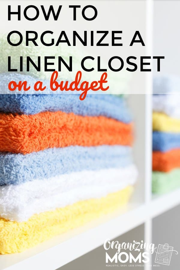Linen closet organization on a budget. How to declutter your linen closet, set up a simple, usable linen closet design, and pick out the best linen closet storage for your situation.