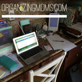 10 minutes of decluttering. Here's what the desk looked like before.