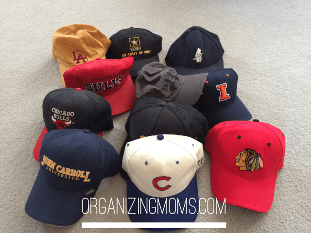 How to organize caps - an easy, cheap hat baseball hat holder you can make yourself.