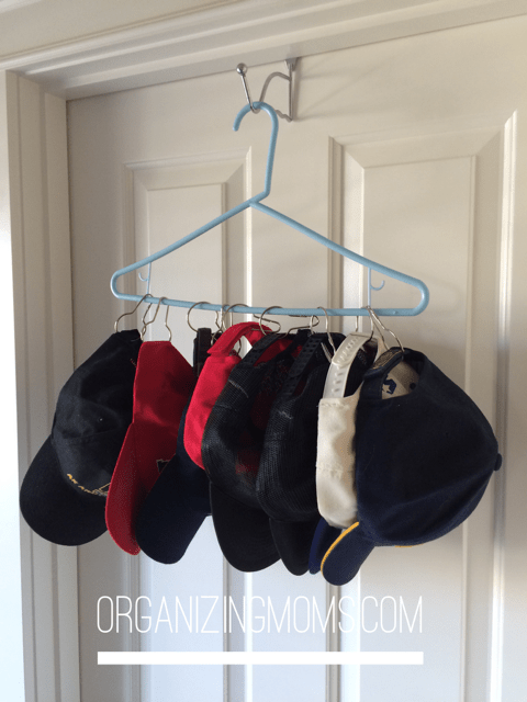 We use this hat holder to organize and store baseball hats.