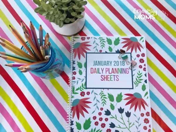 January 2018 Daily Planning Sheets Cover. Part of the 2018 Daily Planning Sheets Collection from Organizing Moms.