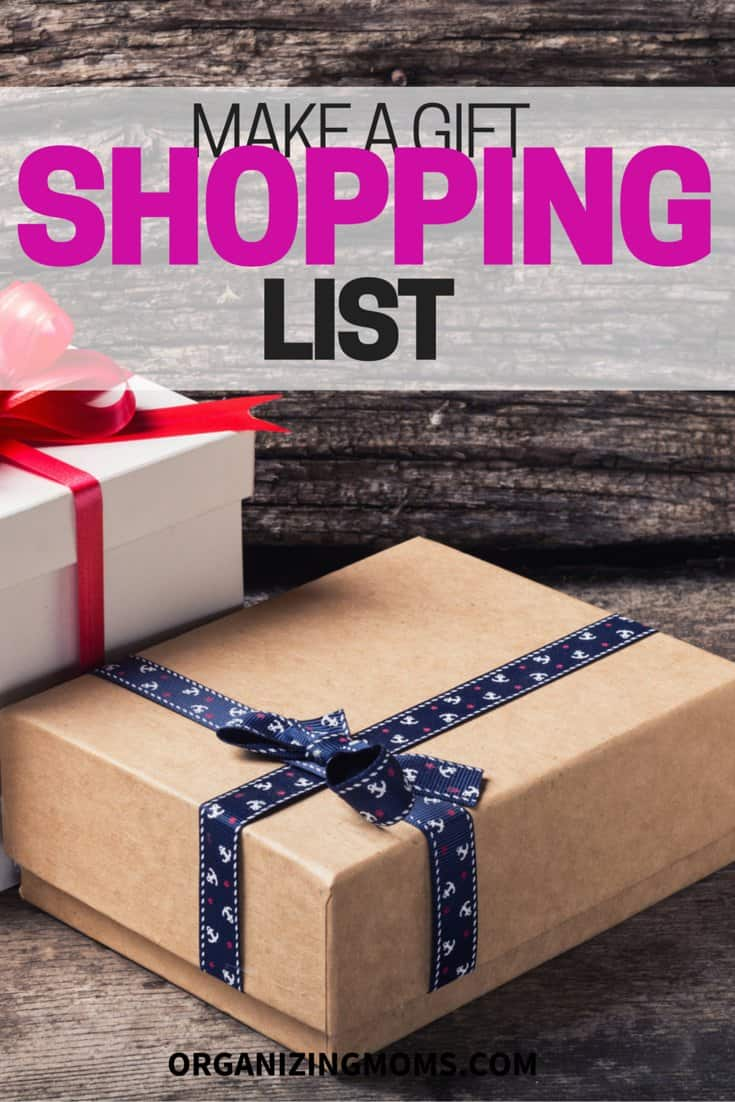 Be organized, save money, and stress less about gift giving by creating a gift shopping list.