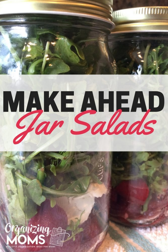 Make ahead mason jar salads on towel