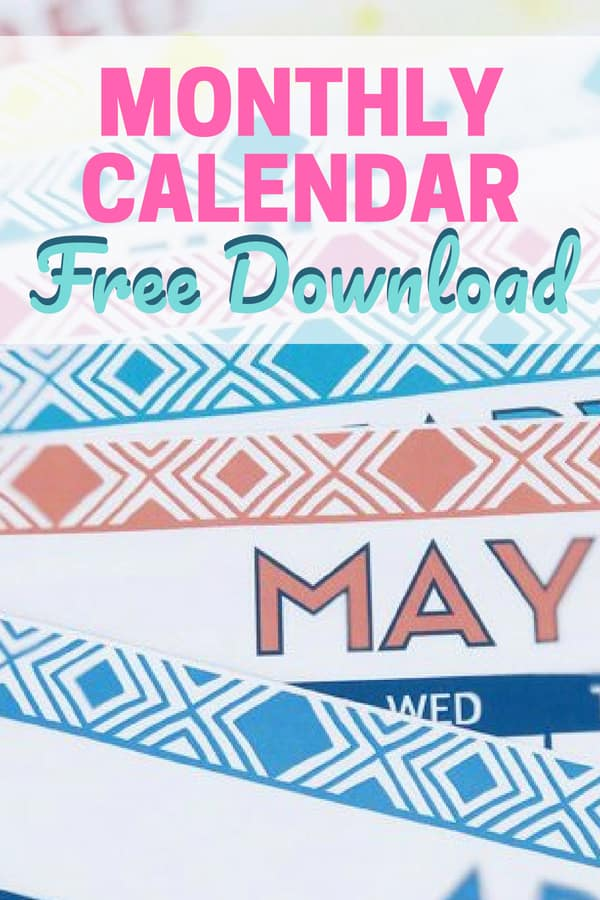 Cute Free Monthly Calendar Printables || printable | free download | monthly calendar | free calendar | time management | routines | #freeprintable #organize #timemanagement
