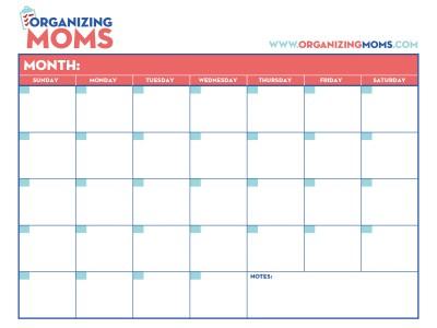 Customizable Calendar. Free Printable from Organizing Moms.