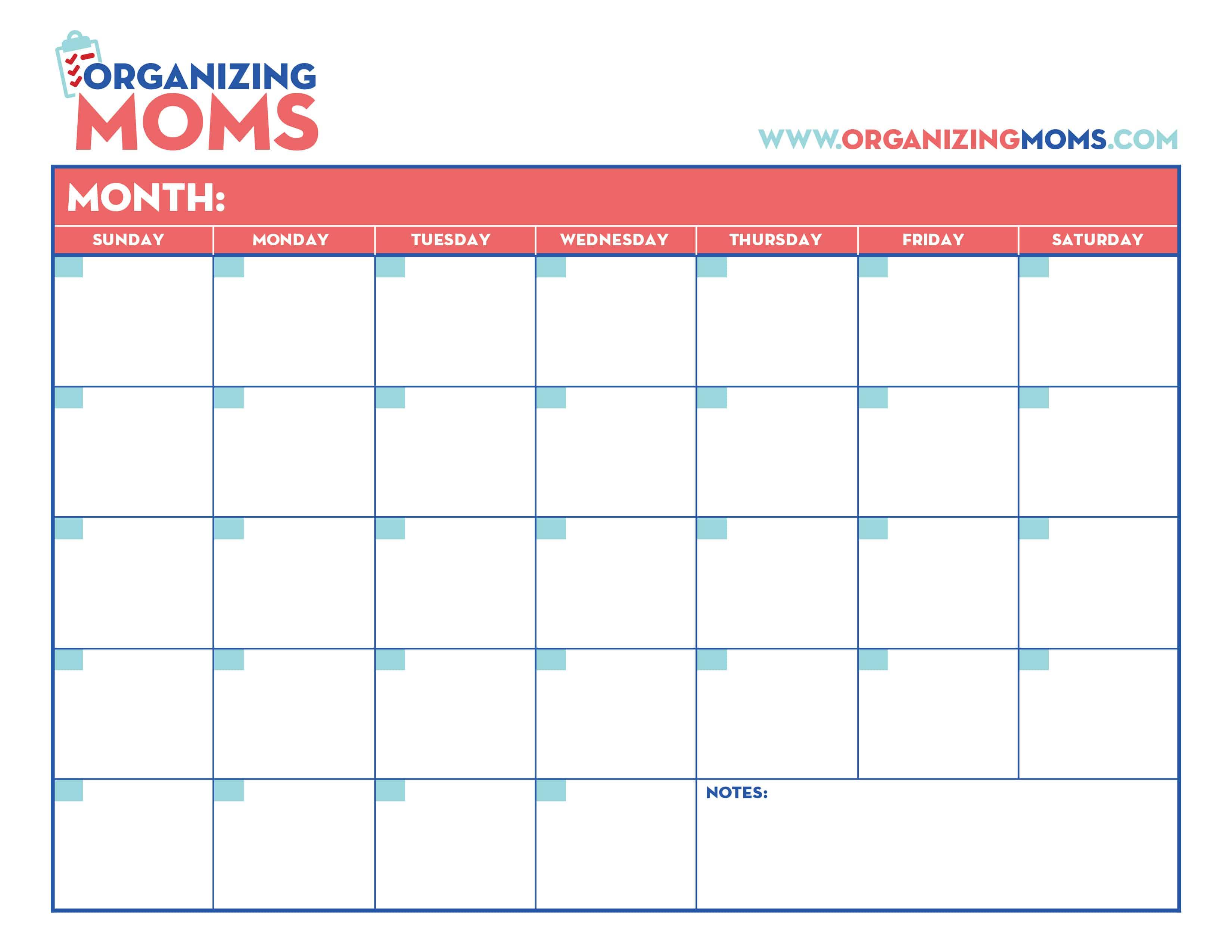 Organization Calendar For Moms : Customizable calendar free printable from organizing moms