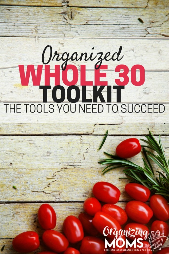 Text - Organized Whole30 Toolkit - The tools you need to succeed. Image of wooden table with grape tomatoes and herbs on table.