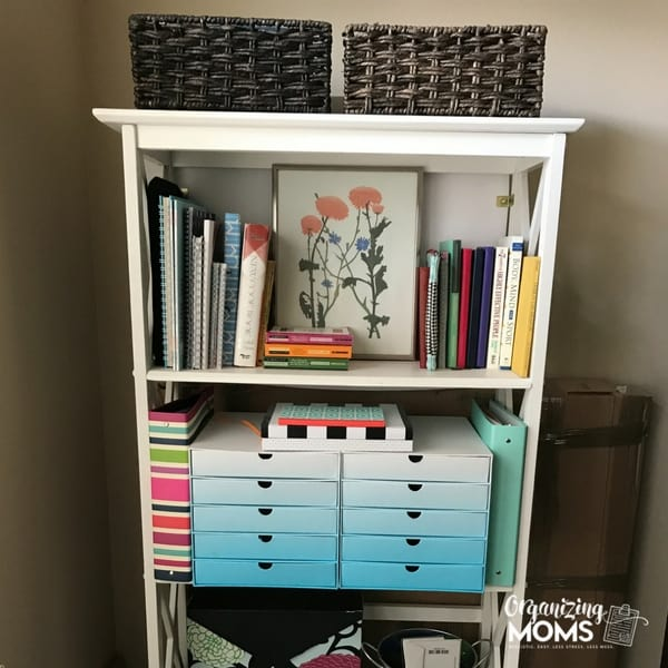 Organized office shelf with drawers for storage