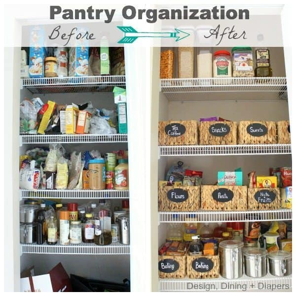 before and after pantry organization images