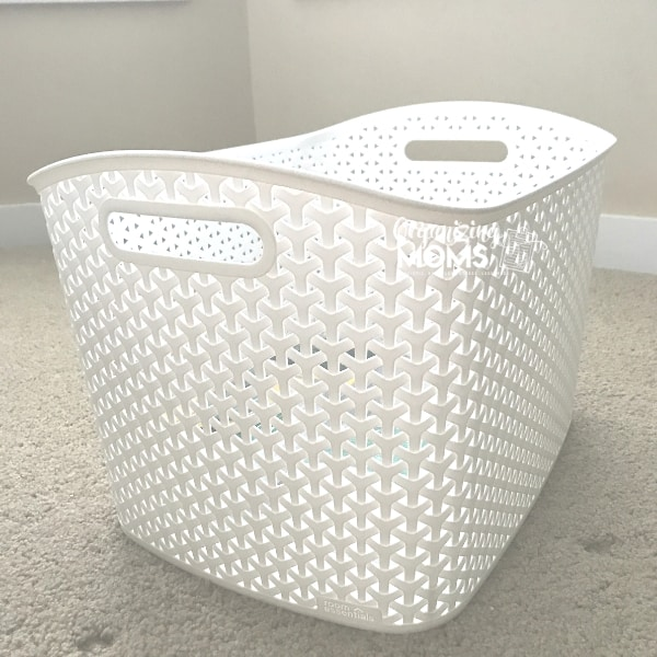 Ideas for organizing with baskets. Plastic baskets are cute, bright, and washable. Great baskets for organizing toys.