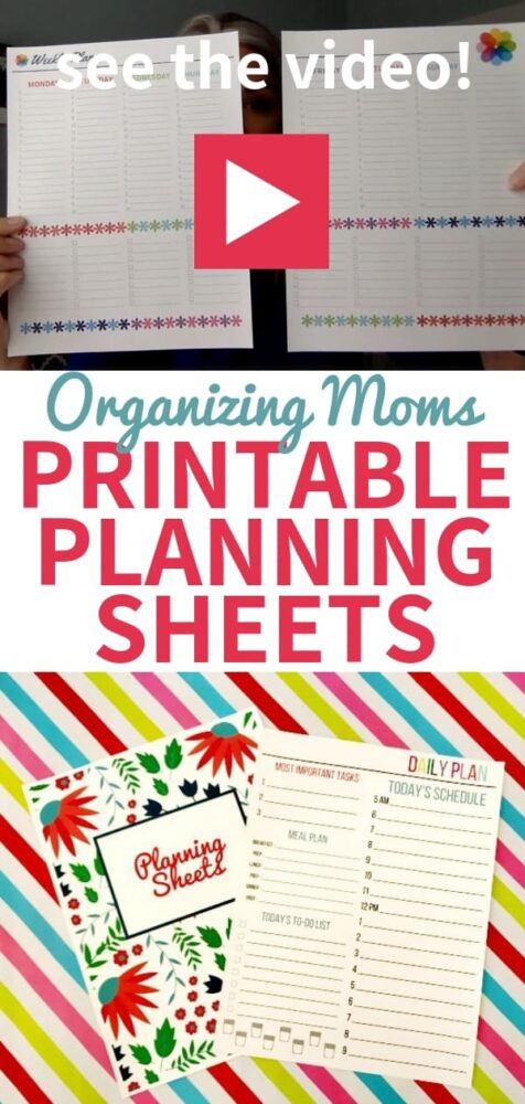 See a video tour of the Organizing Moms Printable Planning Sheets Collection!