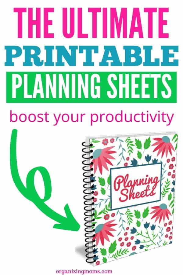 Text - Printable Planning Sheets - boost your productivity - picture of Planning Sheets cover