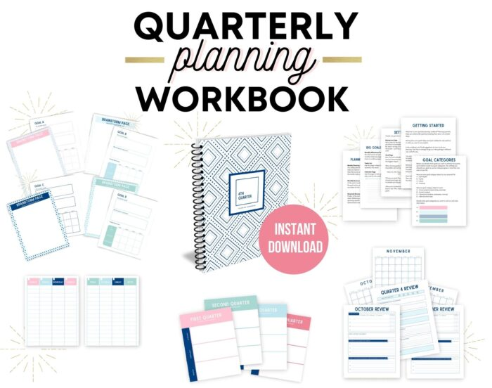 text quarterly planning workbook instant download with images of the workbook and planning pages