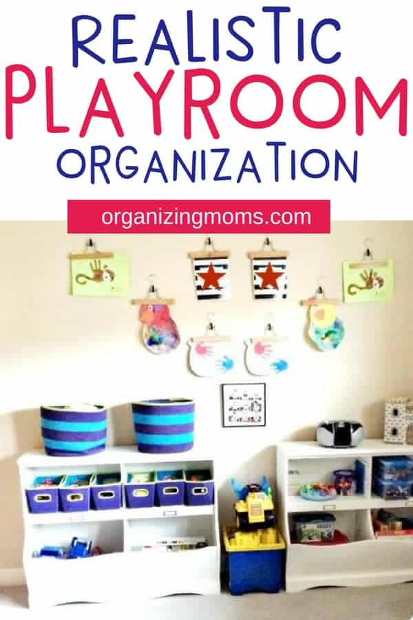 Playroom organization and toy storage ideas that are realistic and easy to implement. Great toy storage and organization ideas for different developmental milestones.