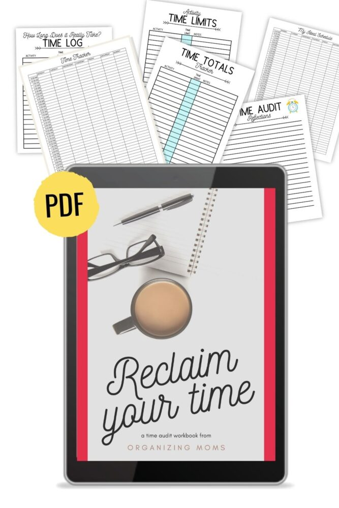 image of reclaim your time pdf on ipad with worksheets