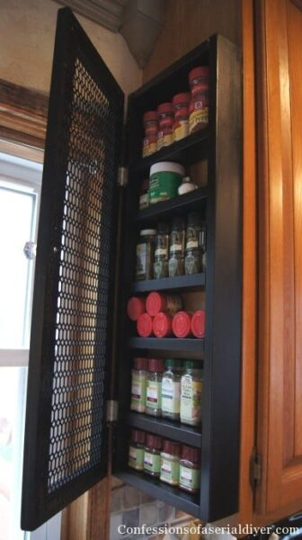 DIY shallow spice storage cabinet