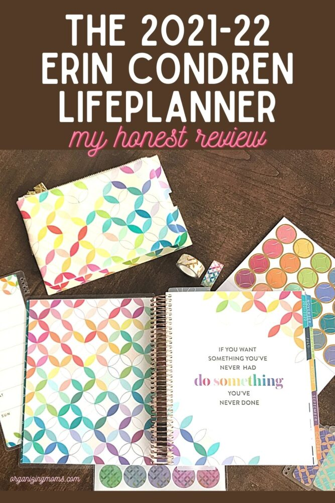 text - The 2021-22 Erin Condren LifePlanner my honest review. image of open life planner and stickers on wooden table