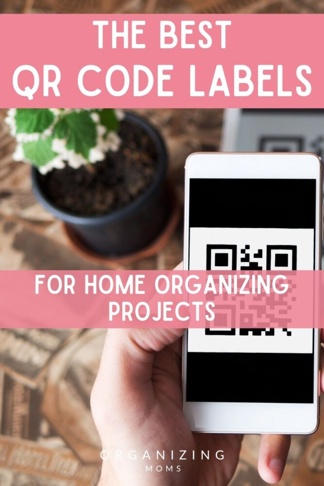 Text: The best QR Code Labels for organizing projects. Image of smartphone with qr code on screen, wooden table, plant