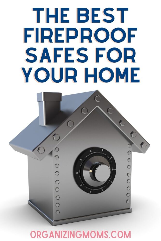 text - the best fireproof safes for your home. image of safe shaped like a home