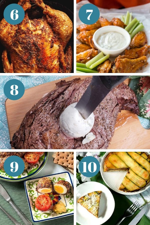 A bunch of different types of food, with Chicken and Steak. Images of foods mentioned in items 6-10 in article about air fryer keto recipes