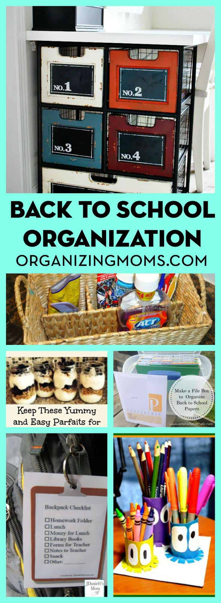 A huge list of back to school organization ideas! This will help you get ready for the new school year, and feel more organized!