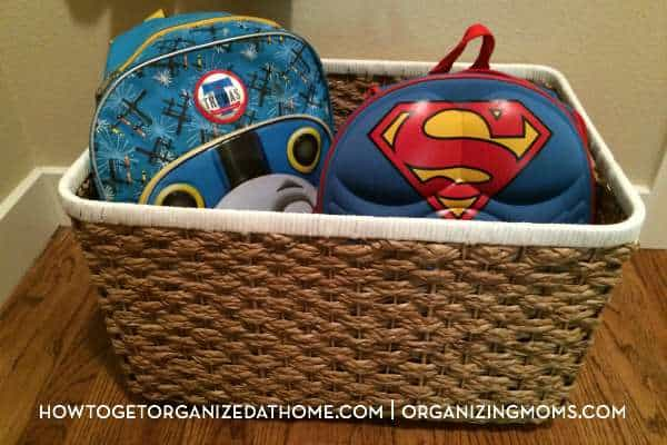 A backpack basket for preschoolers. Part of our simple storage station for preschoolers.