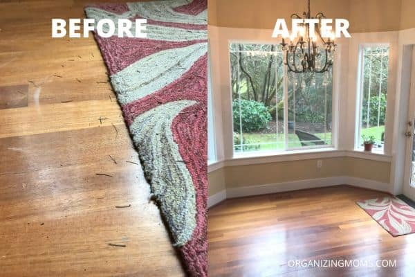 before and after floor cleaning with pine needles