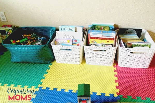 Realistic playroom organization ideas that are easy to implement and maintain. Simplify the organizing toys with these totally do-able tips.