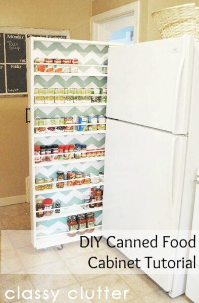 DIY canned food organization rolling cart