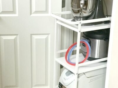 Use a cart to store kitchen appliances under stairs.